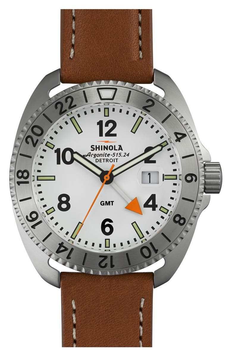 SHINOLA 'Rambler' Dual Time Leather Strap Watch, 44mm, Main, color, 200
