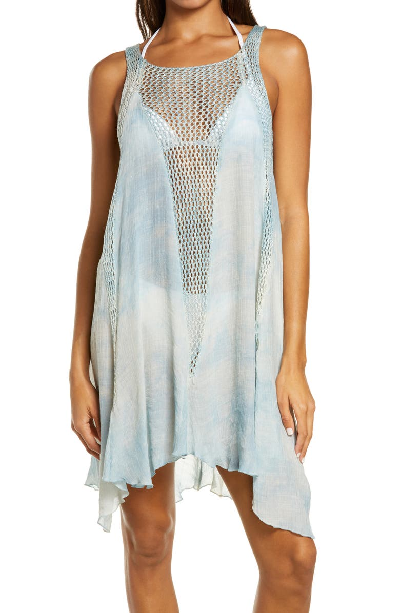 ELAN Crochet Inset Cover-Up Dress, Main, color, 405