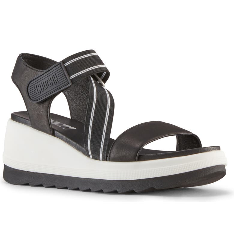 COUGAR Hibiscus Wedge Sandal, Main, color, BLACK NAPPA LEATHER