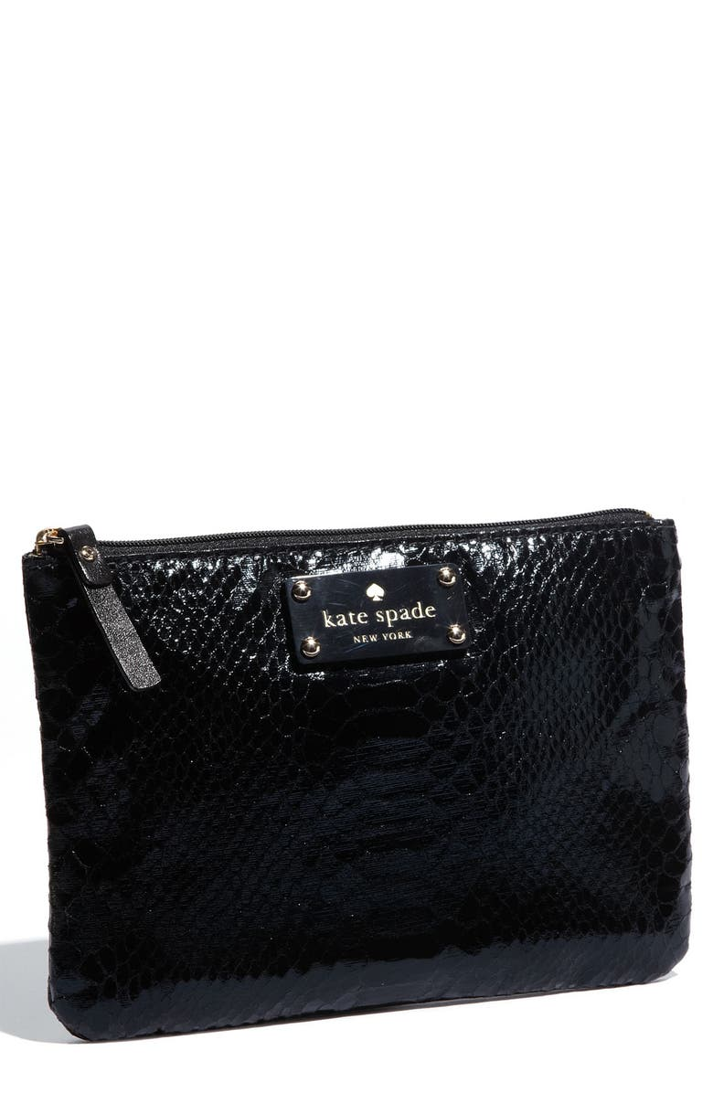 KATE SPADE NEW YORK 'foiled again - little gia' pouch, Main, color, Black