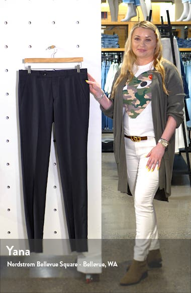 Jerome Flat Front Solid Wool Dress Pants, sales video thumbnail