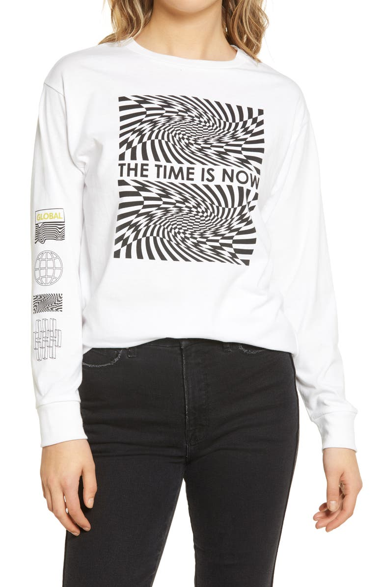 BP. Women's The Time Is Now Graphic Long Sleeve Tee, Main, color, TIME IS NOW