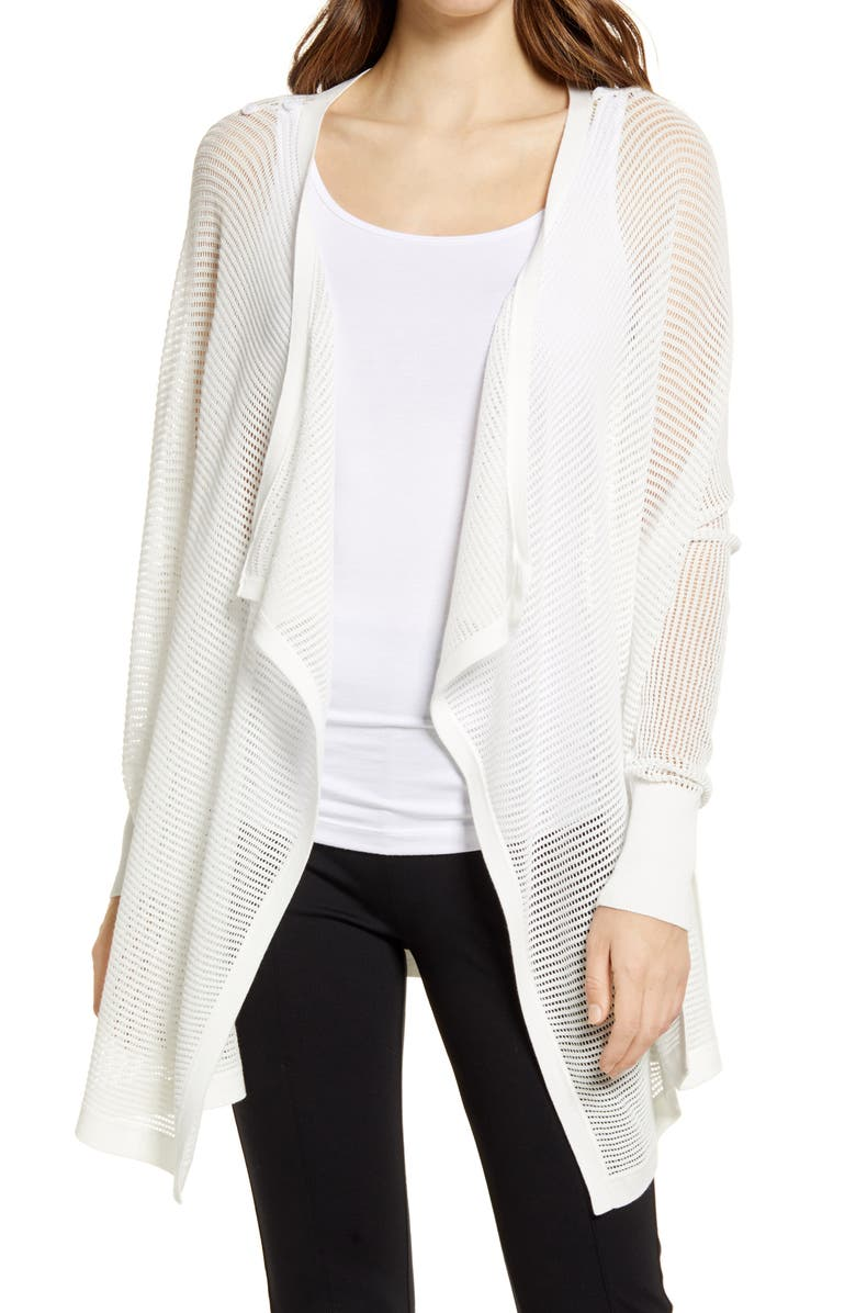 NORDSTROM Mesh Open Cardigan, Main, color, IVORY CLOUD