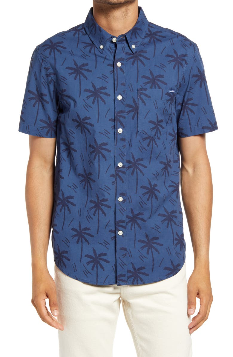 CHUBBIES The Smooth Operator Short Sleeve Button-Down Shirt, Main, color, NAVY