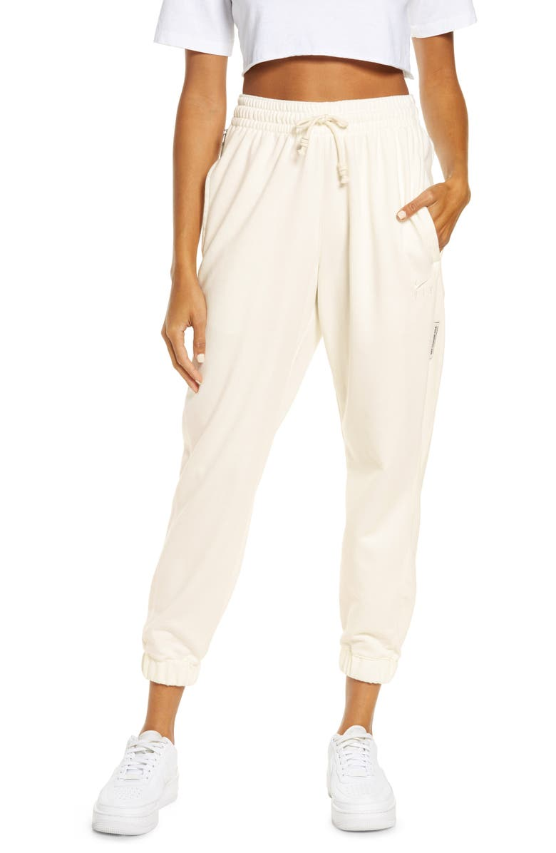 NIKE Dri-FIT Swoosh Fly Standard Issue Women's Pants, Main, color, SAIL/ PALE IVORY