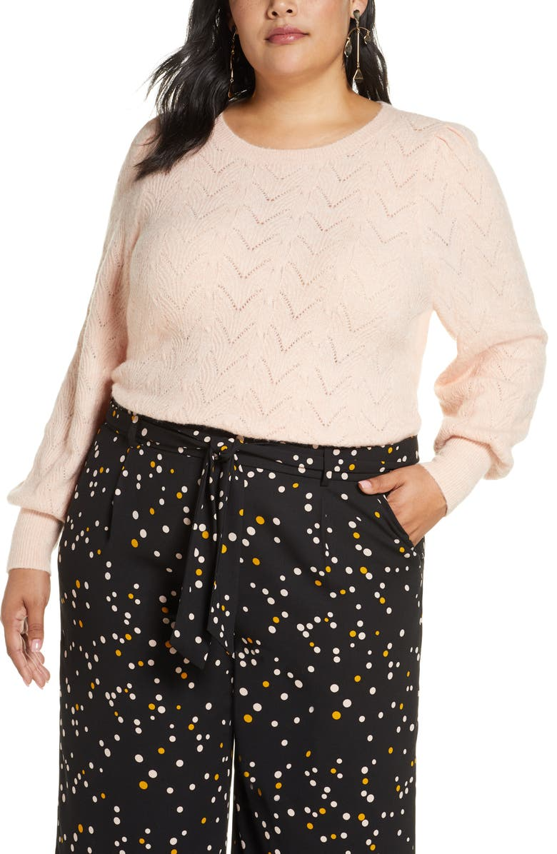 HALOGEN<SUP>®</SUP> Pointelle Puff Sleeve Sweater, Main, color, 680