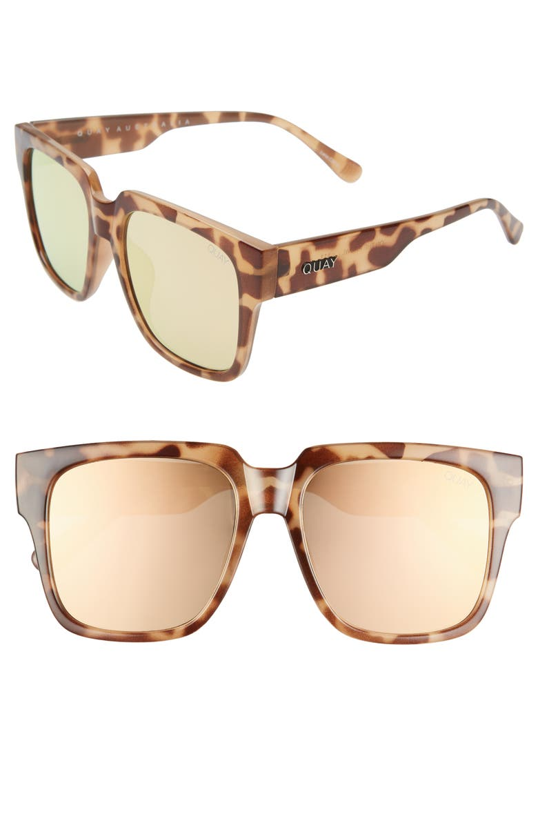 QUAY AUSTRALIA 'On the Prowl' 55mm Square Sunglasses, Main, color, TORTOISE/ ROSE