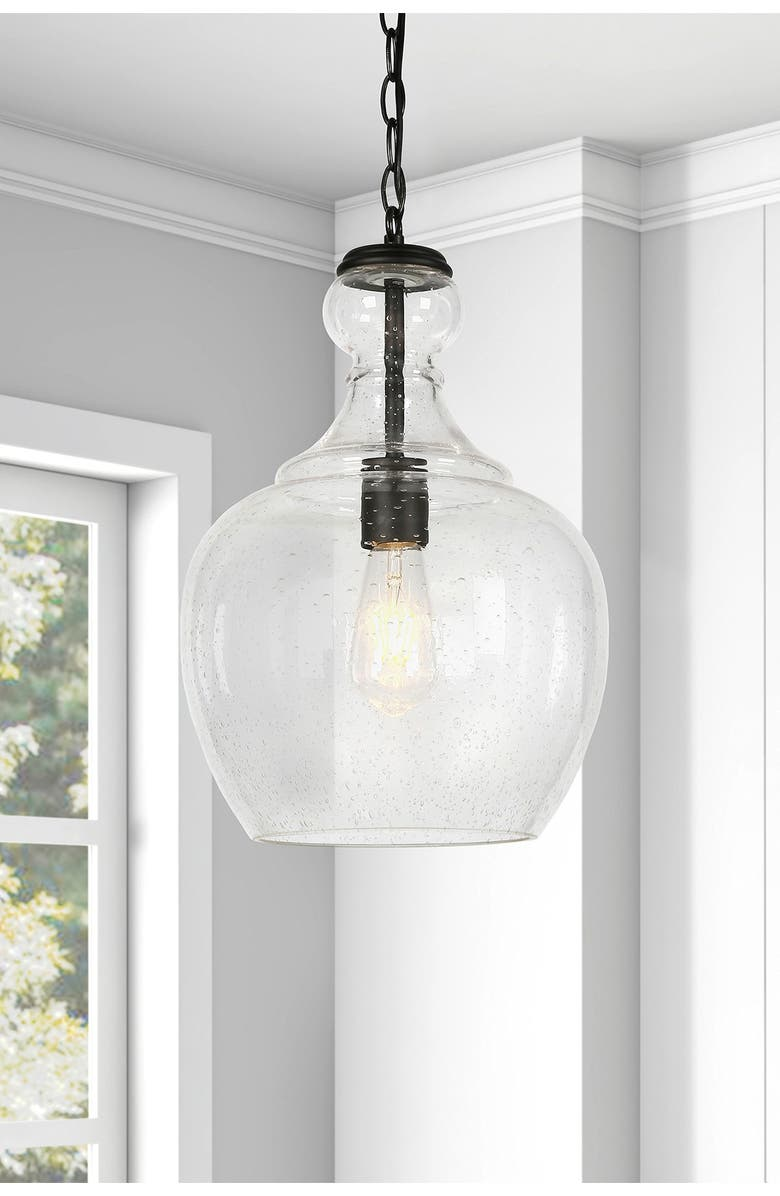 ADDISON AND LANE Westford Blackened Bronze & Seeded Glass Pendant, Main, color, BLACK