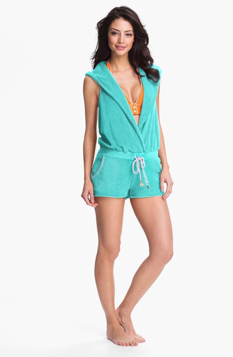 TRINA TURK Hooded Terry Romper, Main, color, MINT JULEP