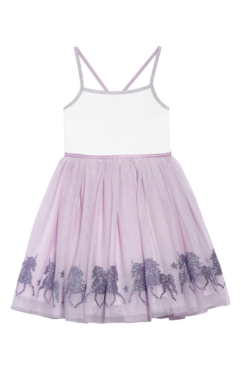 ZUNIE Glittery Unicorn Ballerina Dress, Main, color, 531