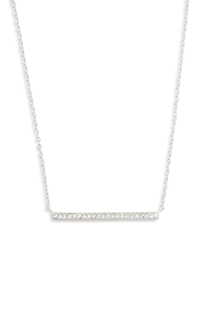 NORDSTROM Pavé Bar Pendant Necklace, Main, color, CLEAR- SILVER