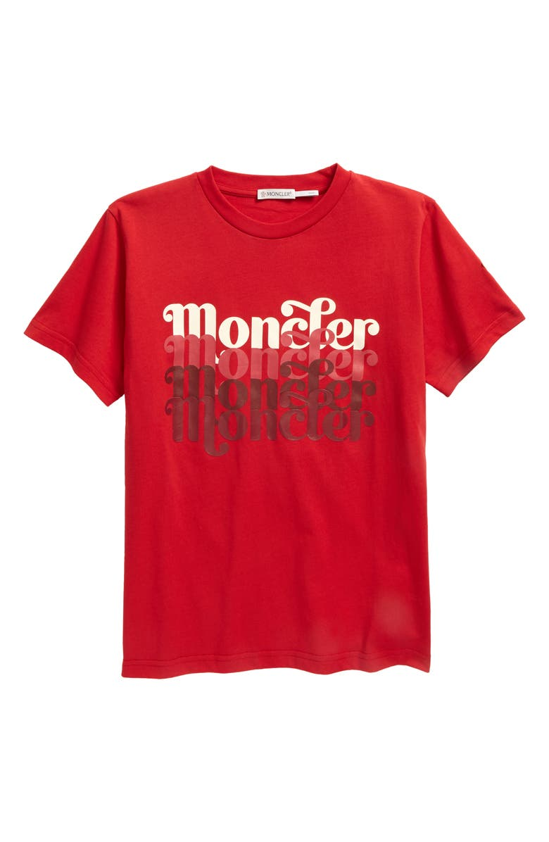 MONCLER Kids' Maglia Logo Graphic Tee, Main, color, RED