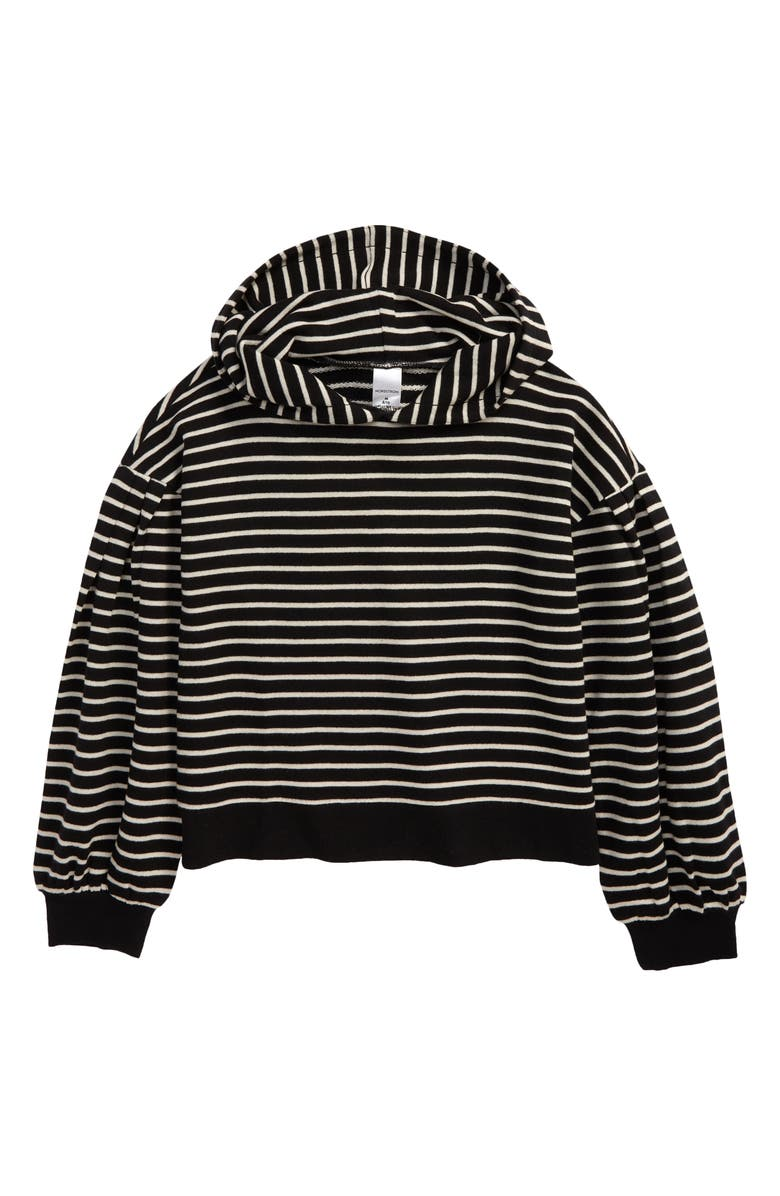 NORDSTROM Kids' Balloon Sleeve French Terry Hoodie, Main, color, BLACK- IVORY STRIPE