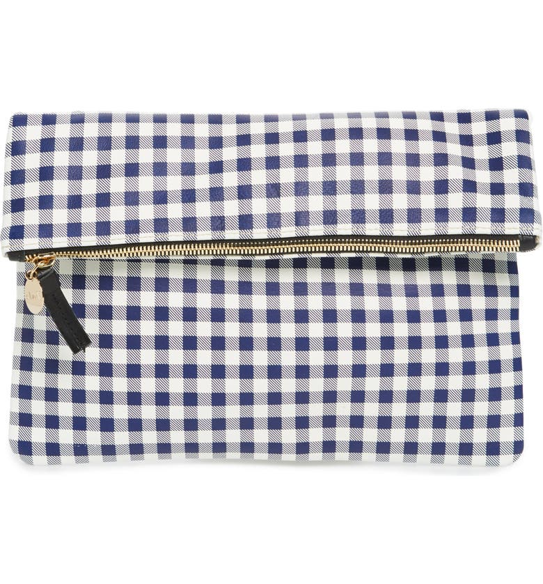 CLARE V. Gingham Leather Foldover Clutch, Main, color, 400