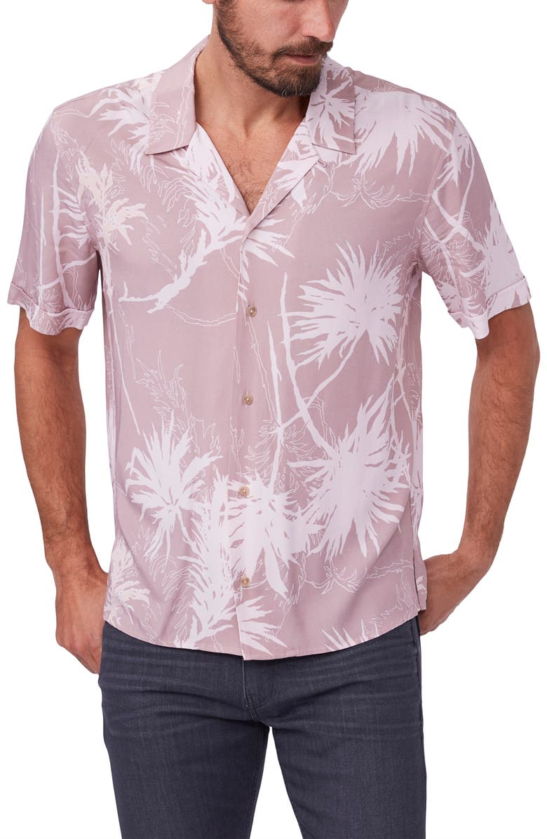 PAIGE Landon Agave Print Short Sleeve Button-Up Camp Shirt, Main, color, DUSTY SUNSET