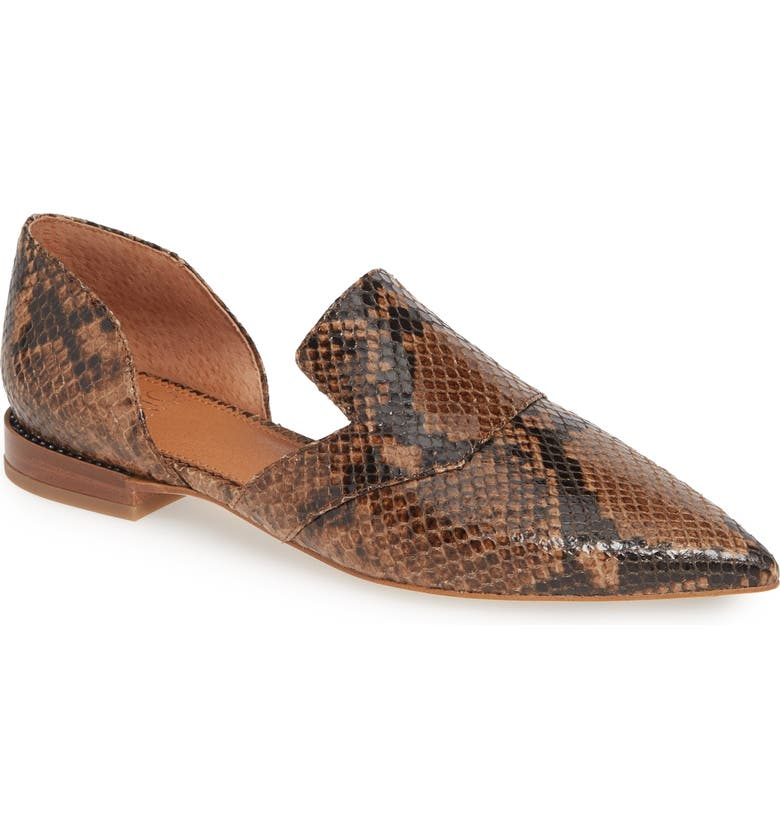 SARTO BY FRANCO SARTO Toby Pointed Toe Flat, Main, color, TAUPE SNAKE PRINT LEATHER