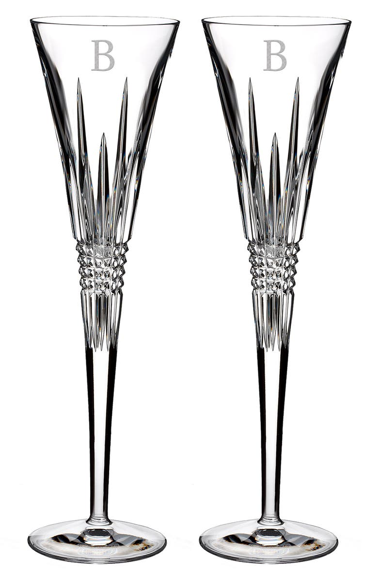 WATERFORD Lismore Diamond Set of 2 Monogram Lead Crystal Champagne Flutes, Main, color, 100