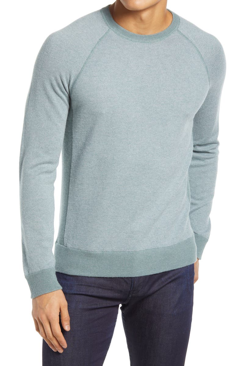 VINCE Regular Fit Bird's Eye Stitch Wool & Cashmere Sweater, Main, color, PATINA/PEARL