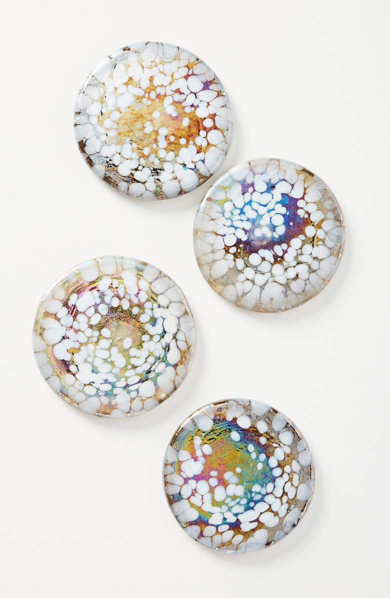 ANTHROPOLOGIE HOME Anthropologie Petula Set of 4 Blown Glass Coasters, Main, color, 400