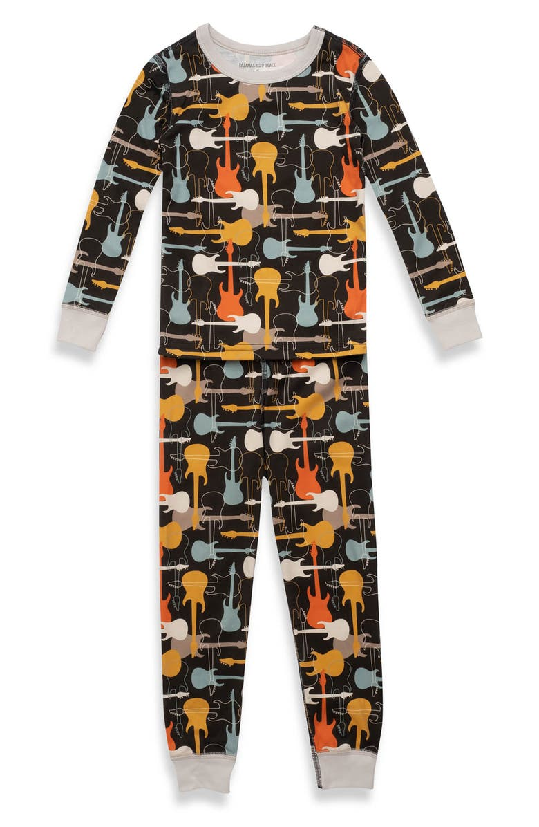 PAJAMAS FOR PEACE Kids' Rock Out Fitted Two-Piece Pajamas, Main, color, BLACK