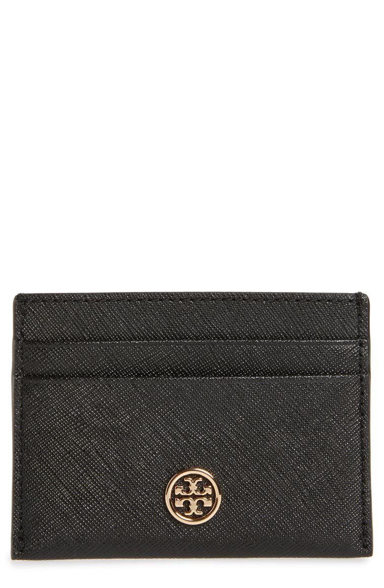 TORY BURCH Robinson Leather Card Case, Main, color, BLACK