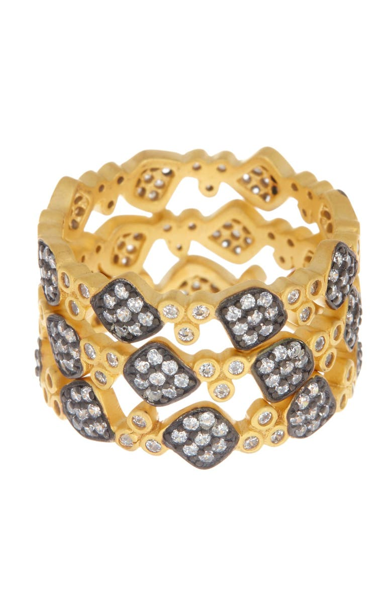 FREIDA ROTHMAN Imperial Two-Tone Pave Crystal Stacking Ring Set, Main, color, SILVER