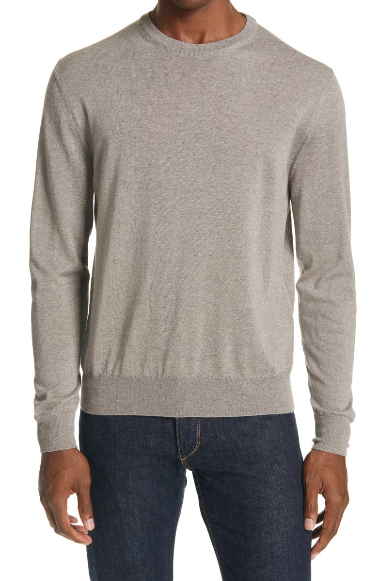 CANALI Crewneck Wool Sweater, Main, color, BEIGE