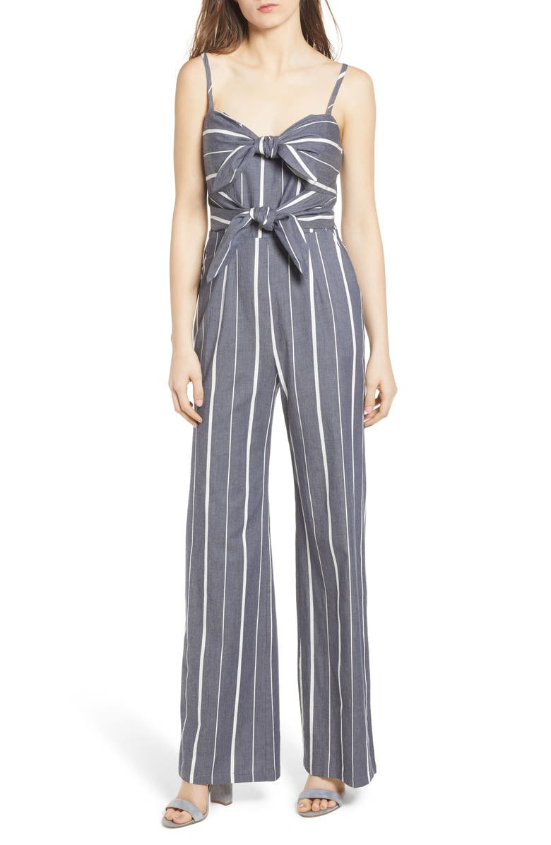 SOCIALITE Double Tie Front Jumpsuit, Main, color, 400