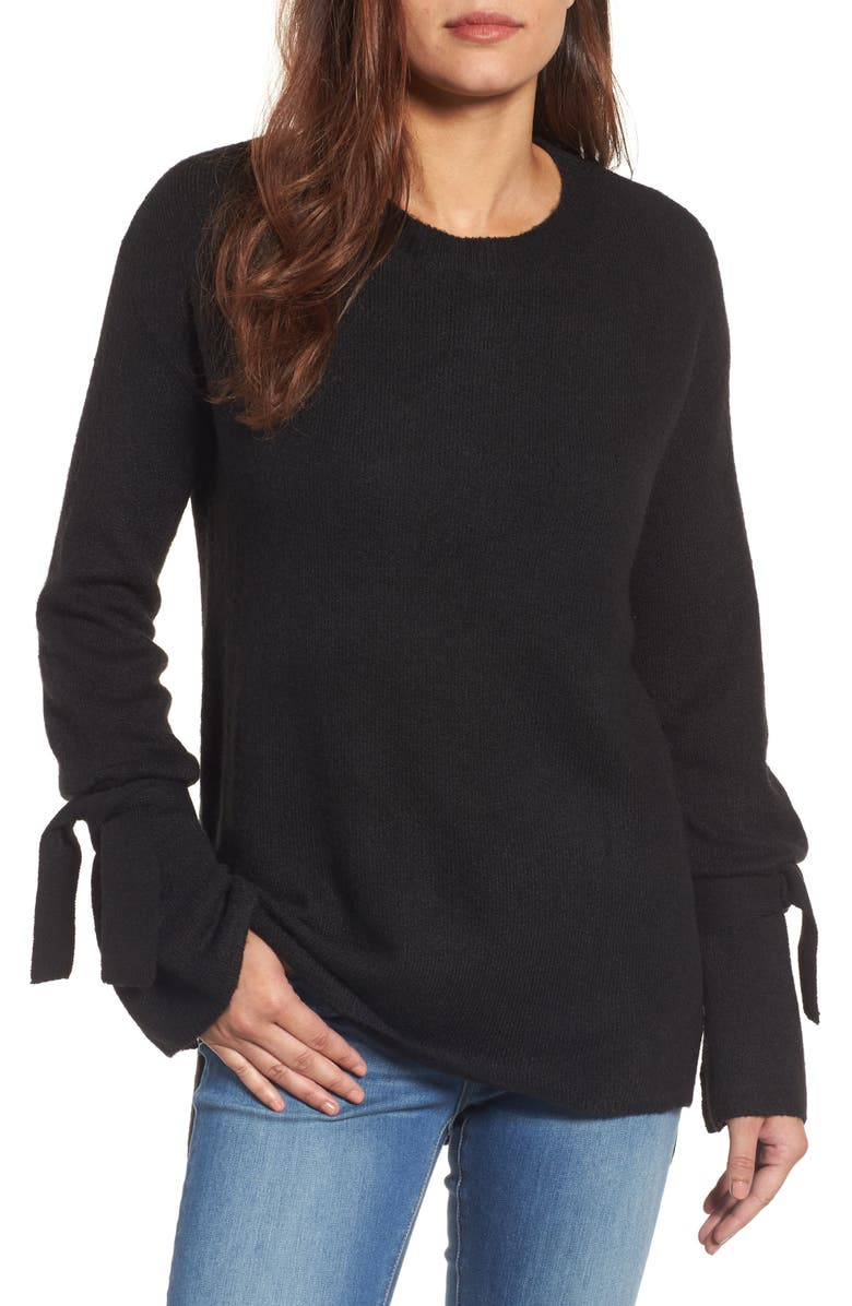 HALOGEN<SUP>®</SUP> Tie Bell Sleeve Sweater, Main, color, 001