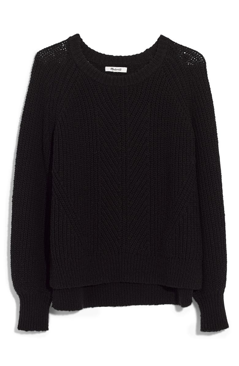 MADEWELL Balloon Sleeve Pullover Sweater, Main, color, TRUE BLACK