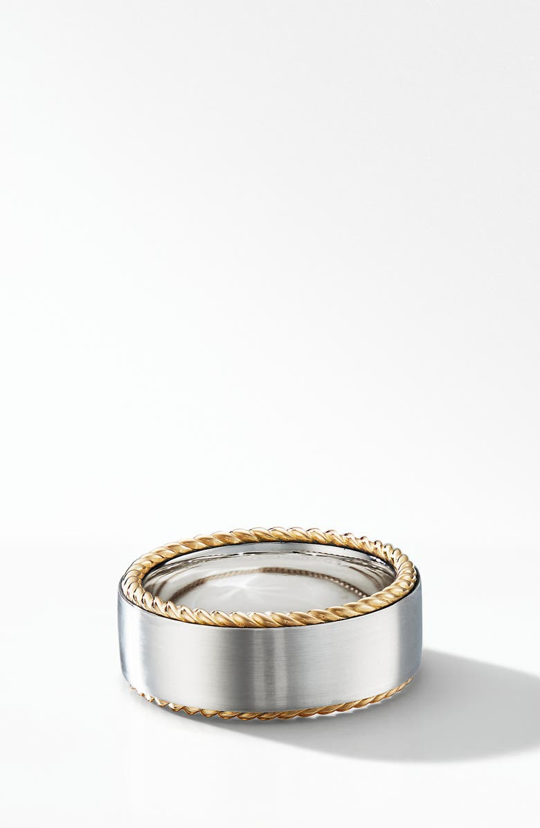 DAVID YURMAN Streamline<sup>®</sup> Cable Band Ring with 18K Yellow Gold, Main, color, SILVER/ GOLD