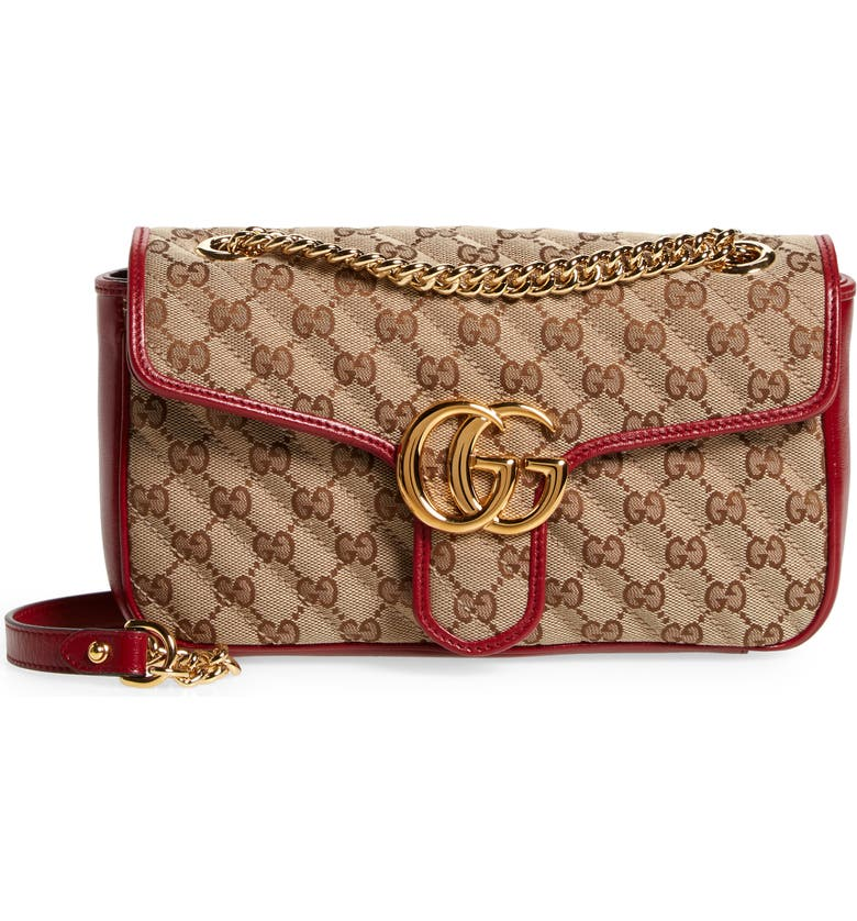 GUCCI Small 2.0 Shoulder Bag, Main, color, BEIGE EBONY/ NEW CHERRY RED