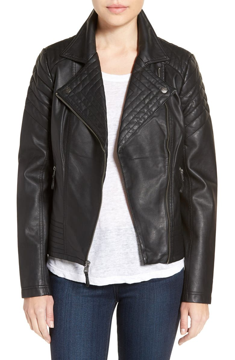 JESSICA SIMPSON Quilted Faux Leather Jacket, Main, color, Black