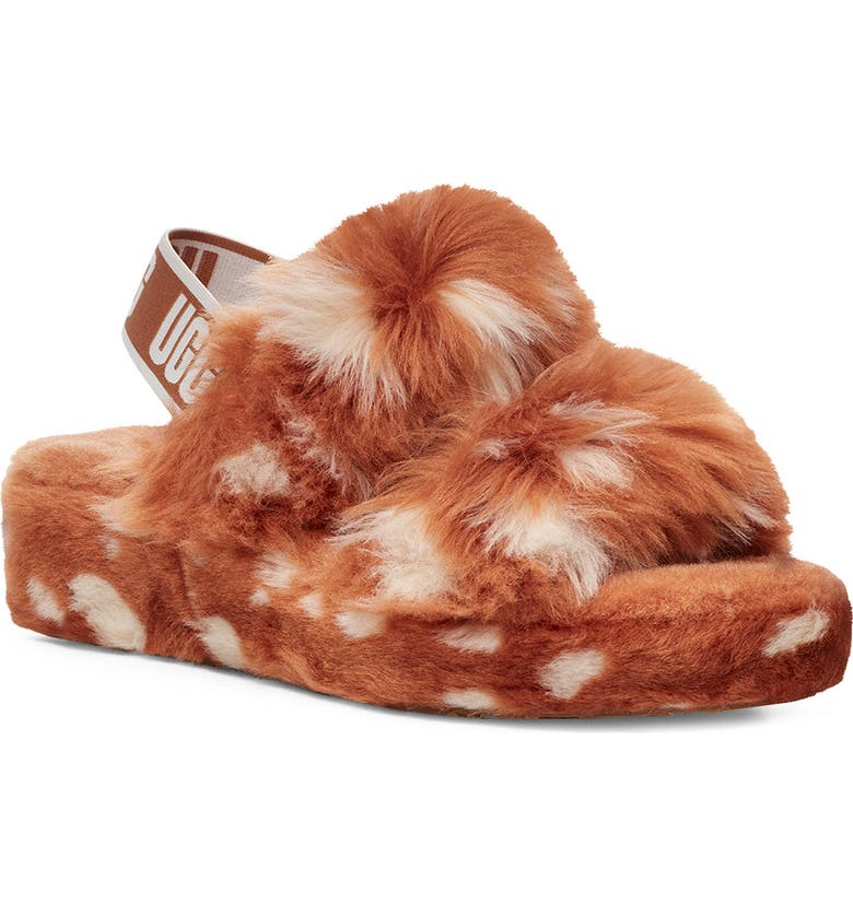 UGG<SUP>®</SUP> Oh Yeah Slingback Slipper, Main, color, NATURAL SPOTS