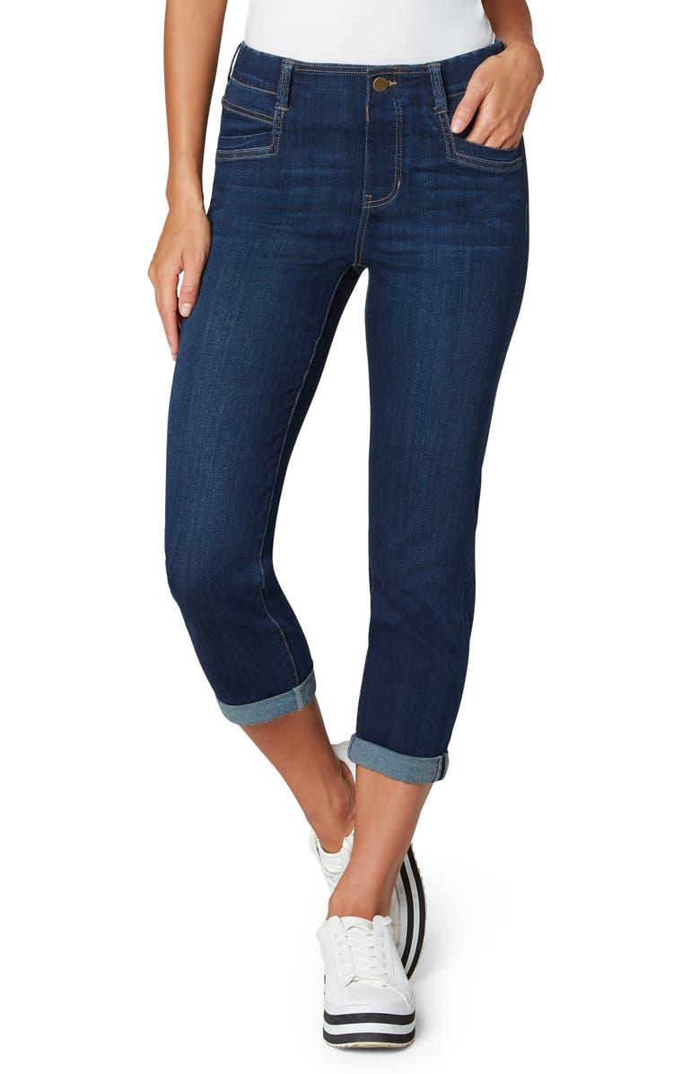 LIVERPOOL LOS ANGELES Gia Glider Crop Skinny Pull-On Jeans, Main, color, GRIFFITH SUPER DARK