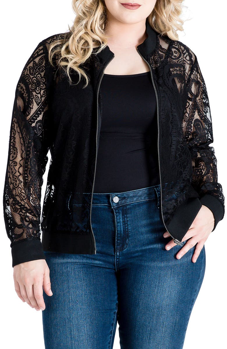 STANDARDS & PRACTICES Aria Lace Bomber Jacket, Main, color, Black