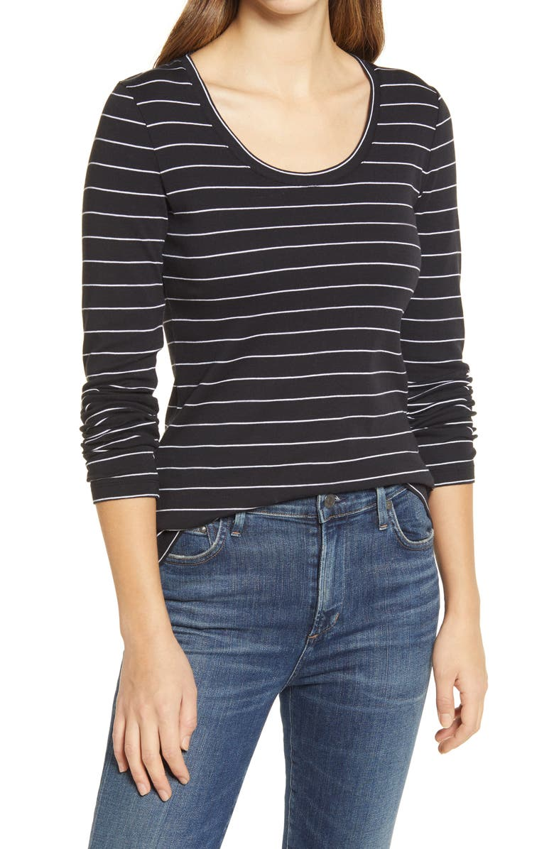 CASLON<SUP>®</SUP> 'Melody' Long Sleeve Scoop Neck Tee, Main, color, BLACK- WHITE LAUREN STRIPE
