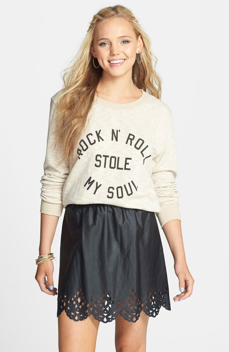 VOLCOM 'No Running' Lasercut Faux Leather Skirt, Main, color, BLACK FAUX LEATHER