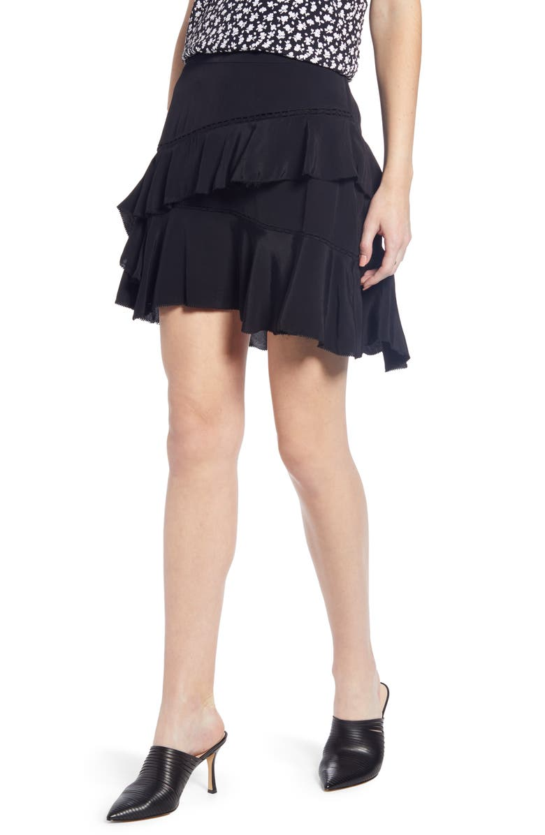 SOMETHING NAVY Tiered Ruffle High/Low Miniskirt, Main, color, 001