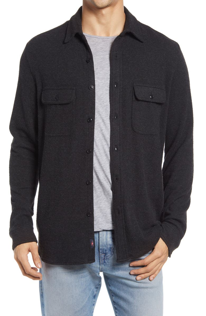 FAHERTY Legend Button-Up Shirt, Main, color, HEATHERED BLACK TWILL