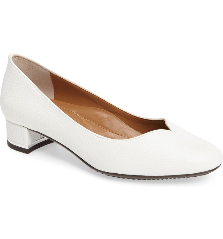 J. RENEÉ Bambalina Block Heel Pump, Main, color, WHITE FAUX LEATHER