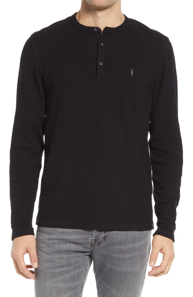ALLSAINTS Muse Long Sleeve Thermal Henley, Main, color, BLACK
