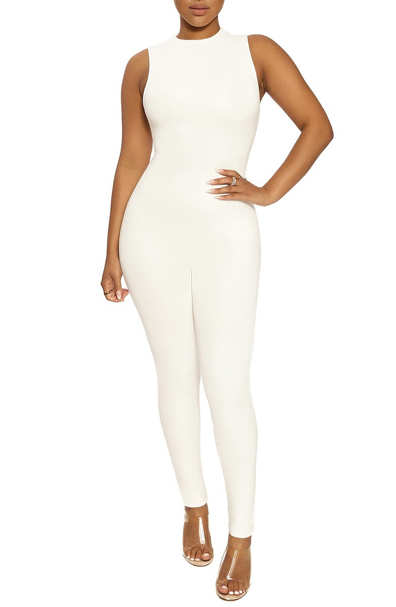 NAKED WARDROBE The NW Sleeveless Jumpsuit, Main, color, OFF WHITE