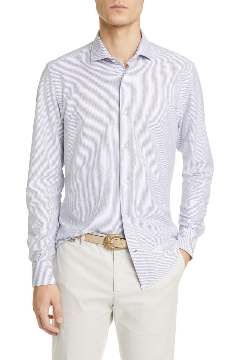 ELEVENTY Slim Fit Pinstripe Jersey Button-Up Shirt, Main, color, 410