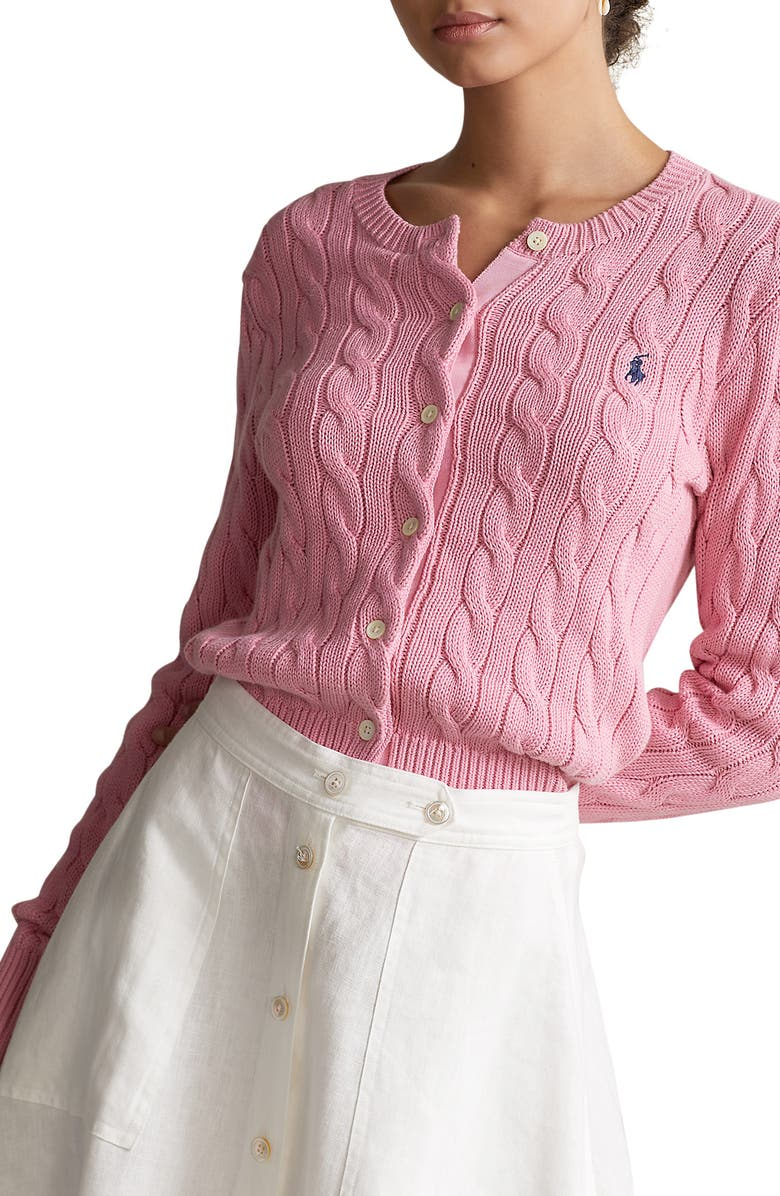 POLO RALPH LAUREN Cable Knit Cardigan, Main, color, HARBOR PINK