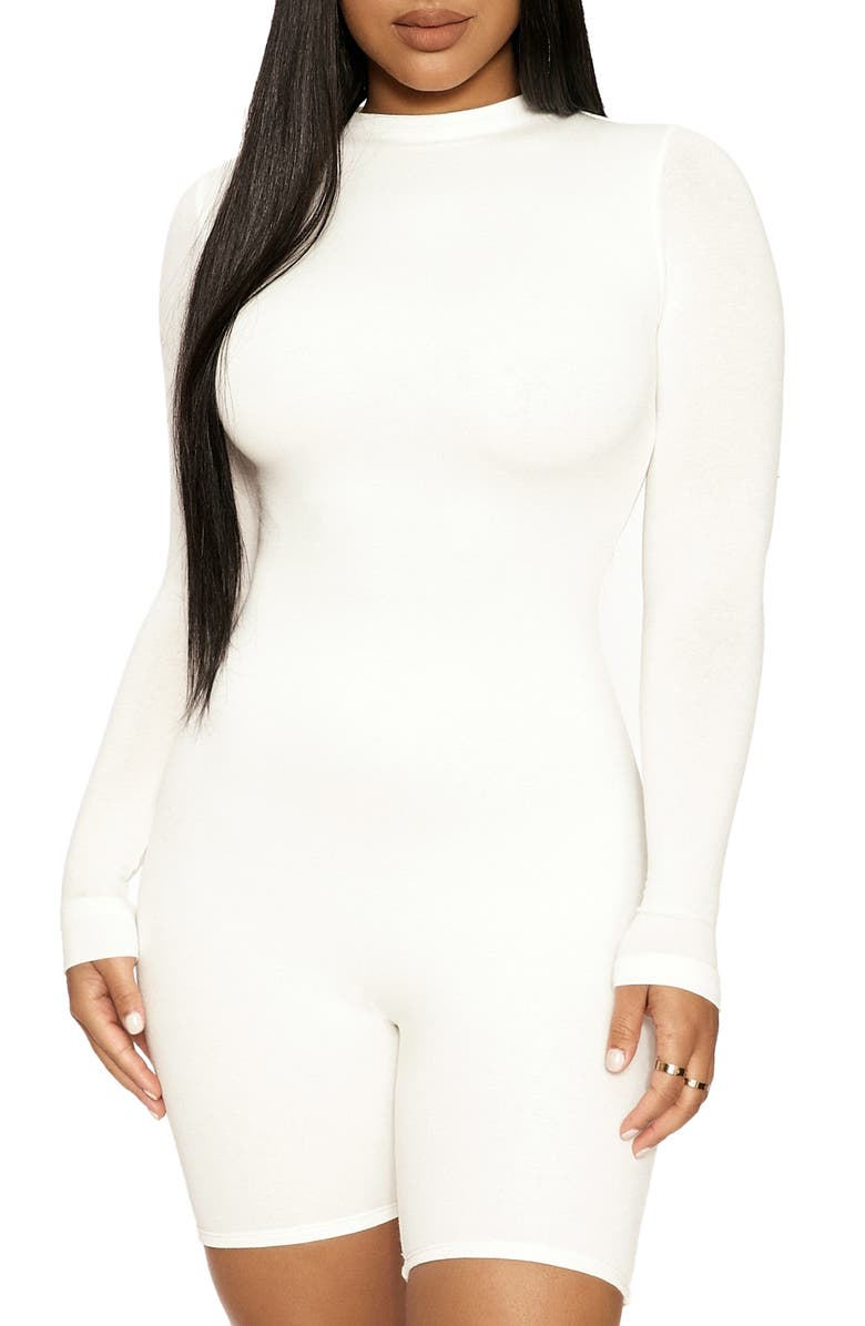 NAKED WARDROBE The NW All Body Long Sleeve Romper, Main, color, OFF WHITE