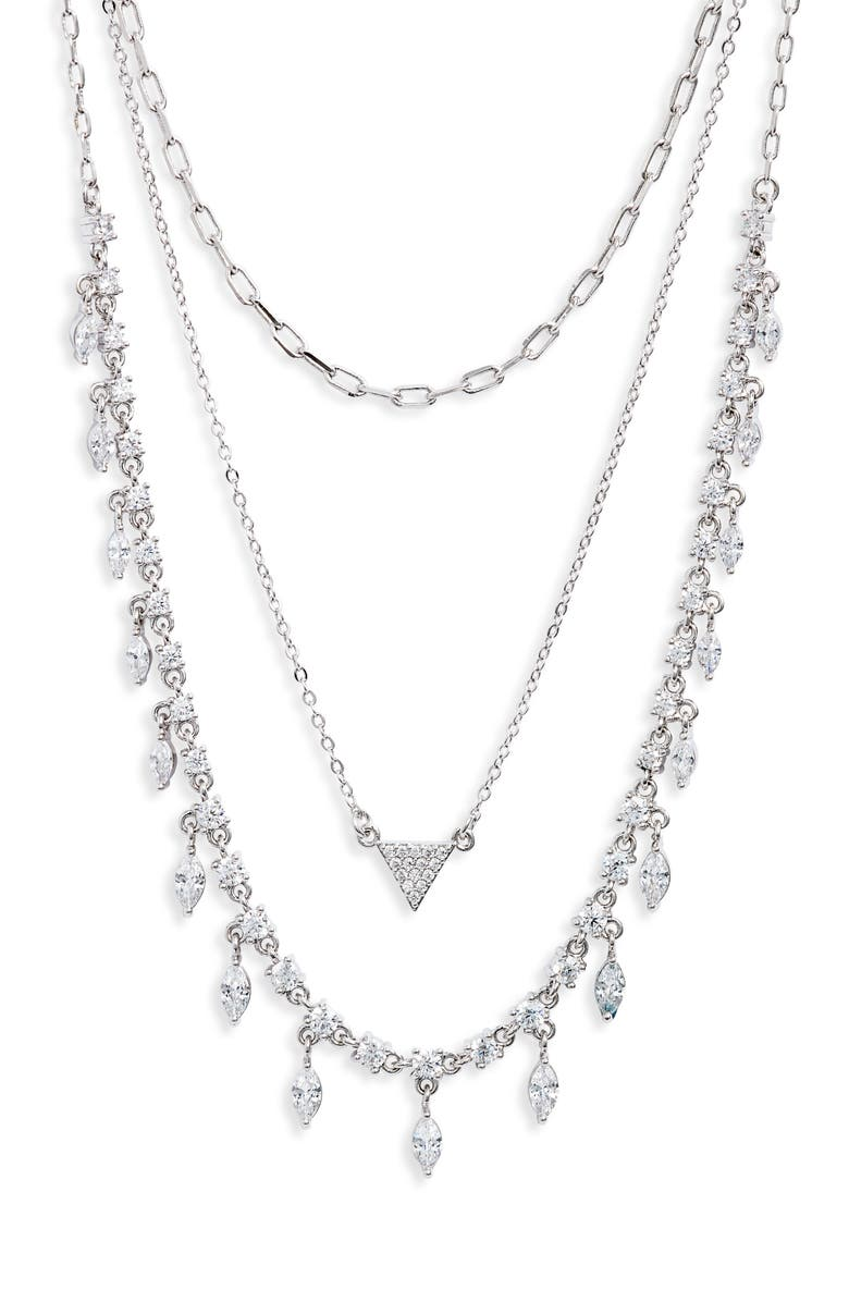 NORDSTROM Layered Cubic Zirconia & Chain Collar Necklace, Main, color, CLEAR- SILVER