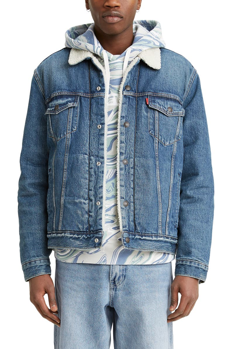 LEVI'S<SUP>®</SUP> Levis<sup>®</sup> Faux Fur Lined Denim Trucker Jacket, Main, color, FABLE SHERPA TRUCKER