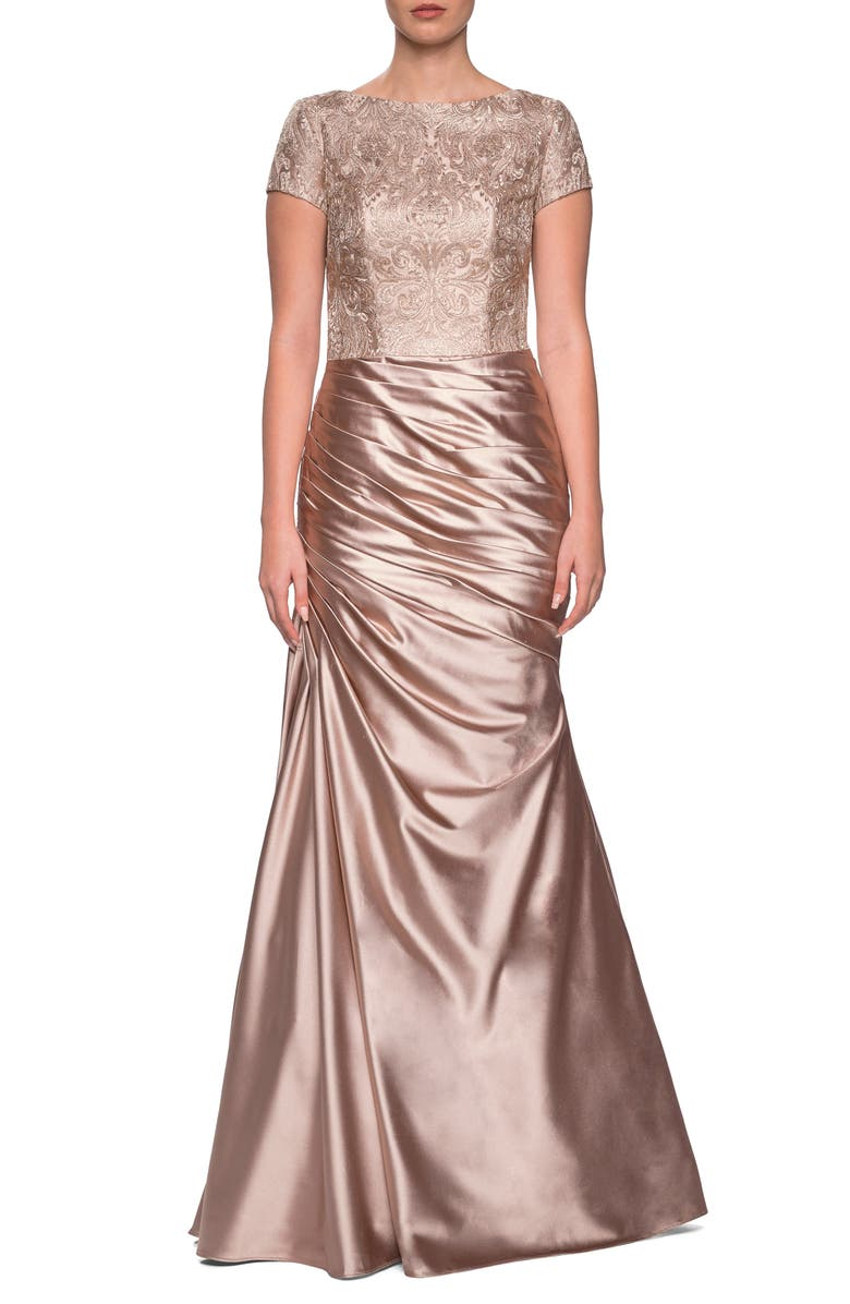 LA FEMME Embroidered Draped Trumpet Gown, Main, color, 700