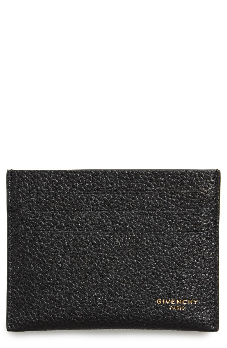 GIVENCHY Leather Card Case, Main, color, 001